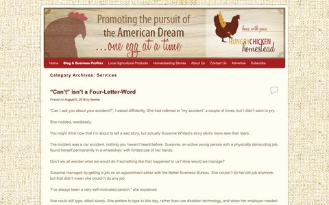 Screenshot of Services Page hungrychickenhomestead.com - Services | Hungry Chicken Homestead - captured Nov. 10, 2018