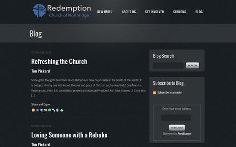 Screenshot of Blog rcnorth.org - Blog | Redemption Church of Northridge - captured Oct. 26, 2014