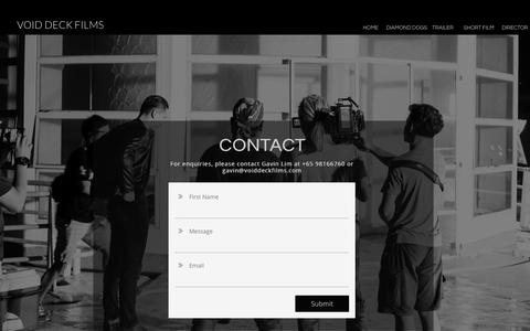 Screenshot of Contact Page voiddeckfilms.com - Contact - captured March 20, 2017