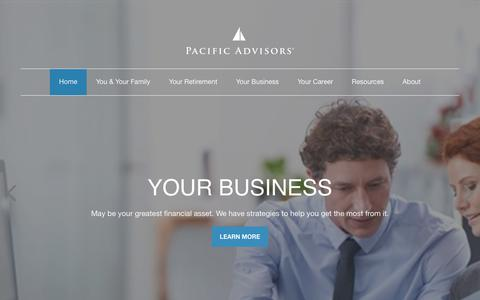Screenshot of Home Page pacificadvisors.com - Welcome to Pacific Advisors - captured Nov. 2, 2018