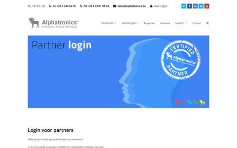 Screenshot of Login Page alphatronics.be - Login voor geregistreerde partners van Alphatronics - captured July 29, 2018