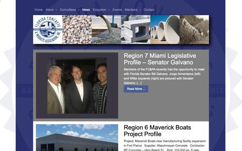 Screenshot of Press Page fcpa.org - News | The Florida Concrete & Products Association - captured Oct. 10, 2018