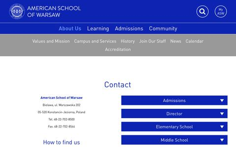 Screenshot of Contact Page aswarsaw.org - Contact - American School of Warsaw - captured Oct. 8, 2017