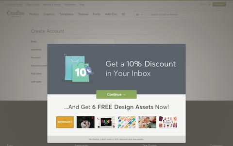 Screenshot of Signup Page creativemarket.com - Create an Account ~ Creative Market ~ Creative Market - captured Feb. 22, 2019