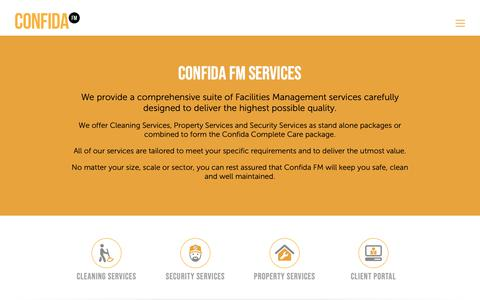 Screenshot of Services Page confida.fm - Confida FM Facilites Management Services - captured Oct. 1, 2018
