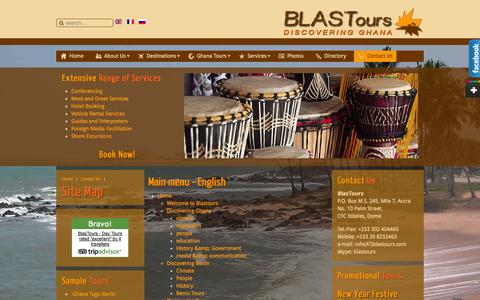 Screenshot of Site Map Page blastours.com - Site Map - captured Sept. 30, 2014