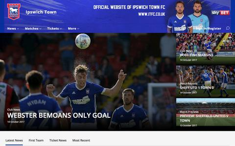 Screenshot of Home Page itfc.co.uk - Ipswich Town - captured Oct. 15, 2017