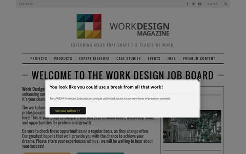 Screenshot of Jobs Page workdesign.com - Welcome to The Work Design Job Board - captured Nov. 28, 2016