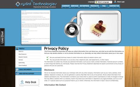 Screenshot of Privacy Page syslint.com - Privacy Policy - Syslint Technologies India Pvt Ltd. - captured Sept. 19, 2014