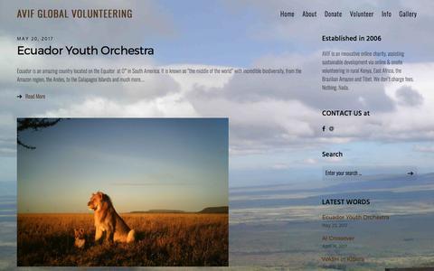 Screenshot of Home Page avif.org.uk - Home - AVIF Global Volunteering - ABLe Volunteers International Fund - captured May 28, 2017