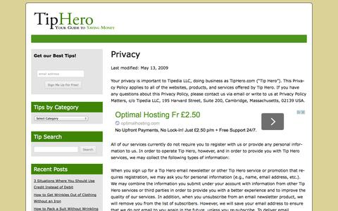 Screenshot of Privacy Page tiphero.com - Privacy | TipHero Money Saving Tips - captured Sept. 23, 2014