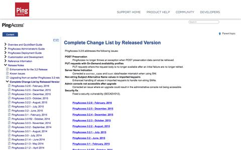 PingAccess 3.2 - Complete Change List by Released Version