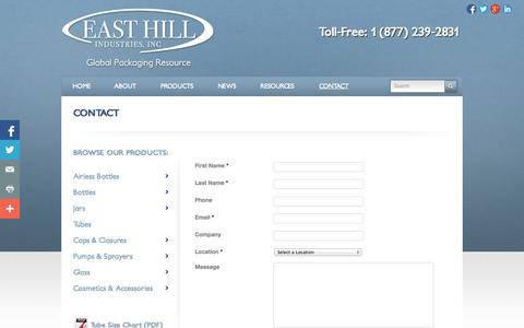 Screenshot of Contact Page packagingcosmetics.com - Contact | Packaging Cosmetics - captured Oct. 1, 2014