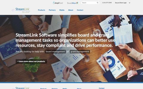 Screenshot of Home Page streamlinksoftware.com - StreamLink Software: Grants Management System and Board Software - captured Feb. 21, 2016