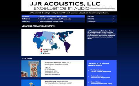 Screenshot of Locations Page jjracoustics.com - JJR Acoustics - Locations - captured Oct. 4, 2014