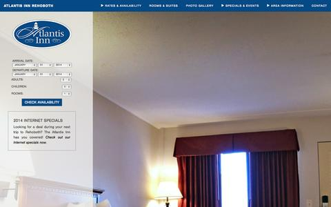 Screenshot of Home Page atlantisinn-rehoboth.com - Discover the heart of Rehoboth with the Atlantis Inn! - Atlantis Inn Rehoboth - captured Oct. 4, 2014