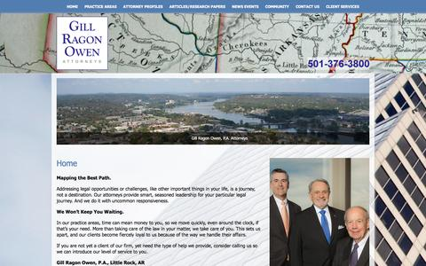 Screenshot of Home Page gill-law.com - Home | Gill Ragon Owen, PA Attorneys | Little Rock, Arkansas - captured Jan. 28, 2016