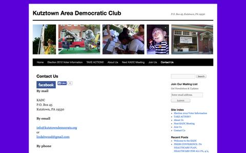 Screenshot of Contact Page kutztowndemocrats.org - Contact Us | Kutztown Area Democratic Club - captured Oct. 6, 2014