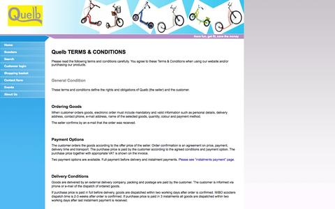 Screenshot of Terms Page quelb.co.uk - GTC - Scooter shop Quelb - captured Oct. 3, 2014