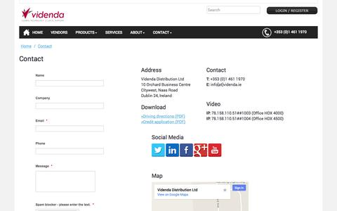 Screenshot of Contact Page videnda.ie - Contact - captured Oct. 26, 2014