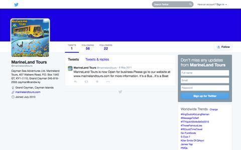 Screenshot of Twitter Page twitter.com - MarineLand Tours (@marinelandtours)   Twitter - captured Oct. 22, 2014
