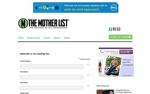 Screenshot of Signup Page themotherlist.com - Sign Up - The Mother List - captured Sept. 17, 2014