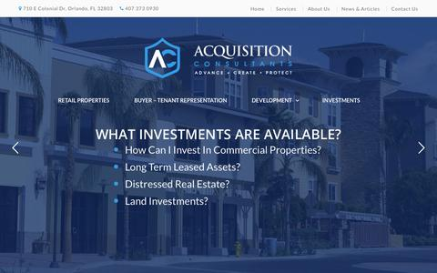Screenshot of Home Page accommercial.com - Acquisition Consultants - captured Oct. 2, 2018