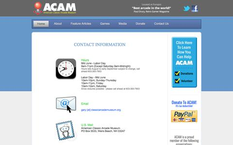 Screenshot of Contact Page Hours Page classicarcademuseum.org - American Classic Arcade Museum - captured Feb. 5, 2018