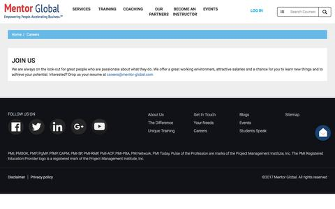 Screenshot of Jobs Page mentor-global.com - Career @ Mentor Global - captured June 24, 2017