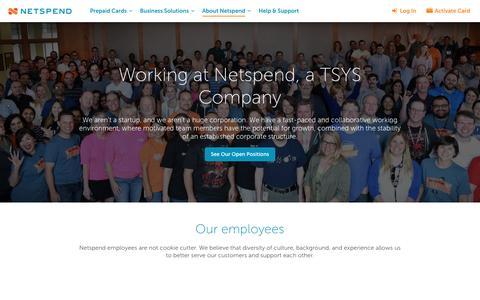Screenshot of Jobs Page netspend.com - Careers | Netspend Prepaid Debit Cards - captured May 9, 2017