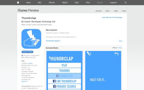 Screenshot of iOS App Page apple.com - Thundrclap on the App Store on iTunes - captured Oct. 23, 2014