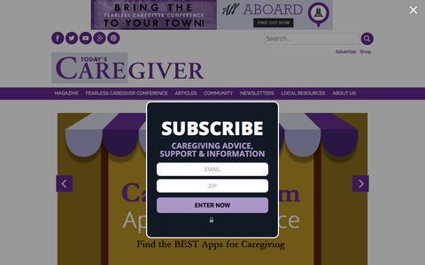 Screenshot of Home Page caregiver.com - Today's Caregiver - Caregiver.com - captured Sept. 23, 2018