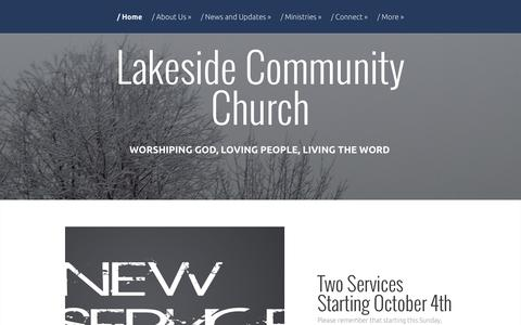 Screenshot of Home Page lcctoday.org - Lakeside Community Church | Worshiping God, Loving People, Living the Word - captured Jan. 24, 2016