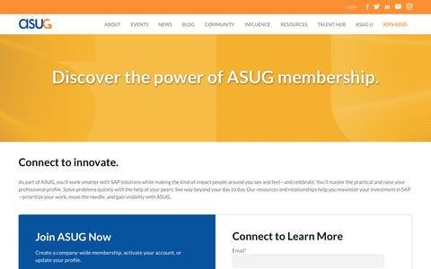 Screenshot of Signup Page asug.com - Join - ASUG - captured May 9, 2019
