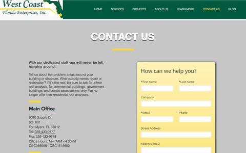 Screenshot of Contact Page westcoastflenterprises.com - Contact West Coast Florida Enterprises - captured Nov. 7, 2017