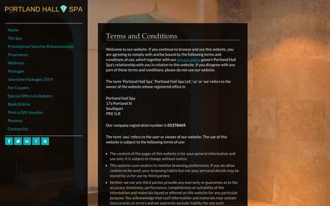 Screenshot of Terms Page portlandhallspa.com - Terms and Conditions   Portland Hall Spa - captured Nov. 5, 2018