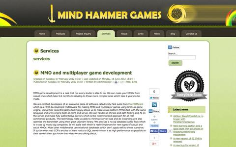 Screenshot of Services Page mindhammergames.com - MHG - Services - captured Oct. 27, 2014