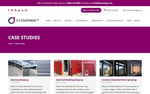 Screenshot of Case Studies Page cjcoatings.co.uk - Case Studies - CJ Coatings UK - captured July 14, 2018