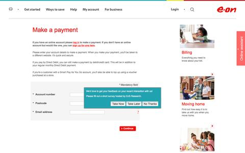 Make a payment | Your account  - E.ON