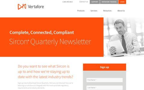 Screenshot of Landing Page vertafore.com - Vertafore - Sircon Quarterly Newsletter - captured Oct. 4, 2016
