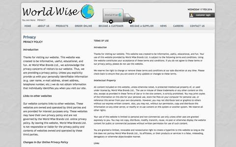 Screenshot of Privacy Page worldwise.ca - Privacy - captured Feb. 16, 2016
