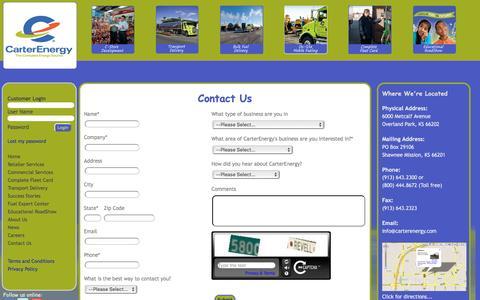 Screenshot of Contact Page carterenergy.com - Contact Us - captured Dec. 2, 2016