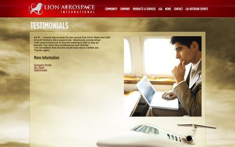 Screenshot of Testimonials Page lionaerospace.com - Lion Aerospace International  » Testimonials - captured Jan. 30, 2016