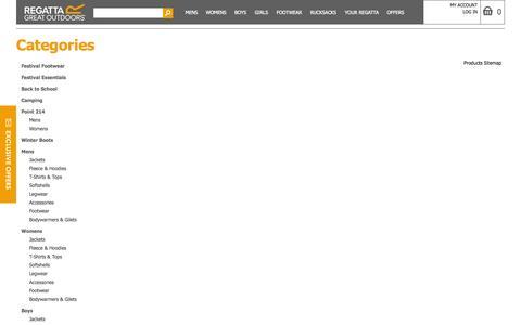 Screenshot of Site Map Page regatta.com - Site Map - captured Sept. 19, 2014