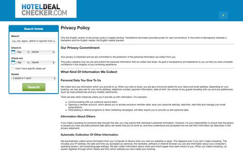 Screenshot of Privacy Page hoteldealchecker.com - Hotel Deal Checker Privacy Statement - captured Sept. 30, 2018