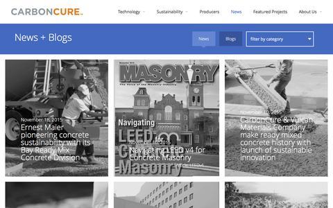 Screenshot of Press Page carboncure.com - CarbonCure  |  News - captured Dec. 4, 2015