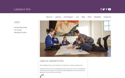Screenshot of Jobs Page lakelandarts.org.uk - Work Opportunities | Lakeland Arts - captured May 14, 2017
