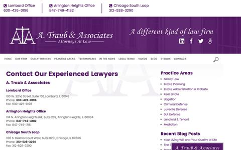 Screenshot of Contact Page atclaw.com - Contact Attorneys | A. Traub and Associates | Lombard, Arlington Heights - captured Nov. 14, 2016