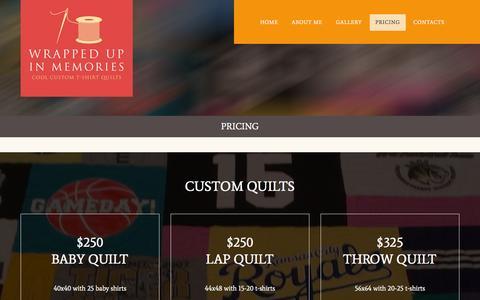 Screenshot of Pricing Page wrappedupinmemories.com - Pricing     Wrapped Up In Memories - captured Feb. 26, 2016