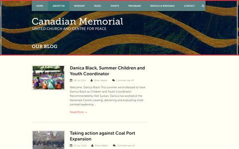 Screenshot of Blog canadianmemorial.org - Canadian Memorial   » Our Blog - captured Oct. 1, 2014